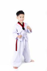Taekwondo action  by a asian cute boy