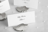 Place cards for wedding guests (close-up)