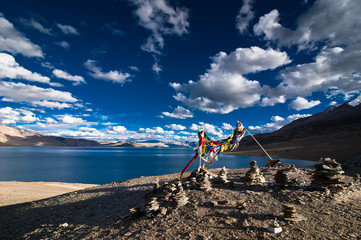 Buddhist praying flags at Tso Moriri Lake. India