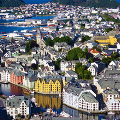 Scandinavian town houses, Alesund, Norway