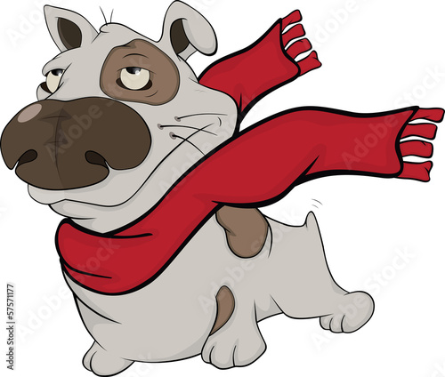 Dog with a red scarf. Cartoon