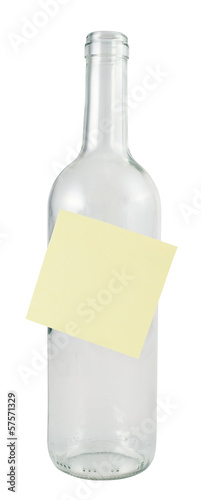 Glass bottle with a sticker