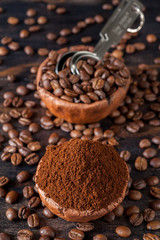 Vintage bowl with coffee beans and ground coffee