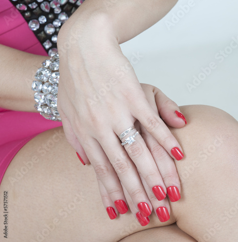 False nails on a woman's hands
