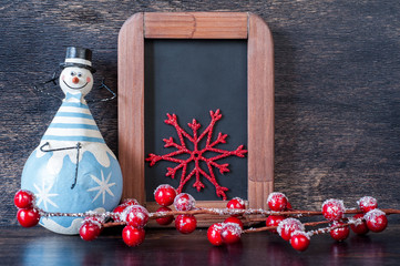 Snowman, Christmas decoration and chalk boards.