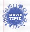 blue movie icon set
