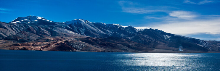 Morning panorama at Tso Moriri Lake. India