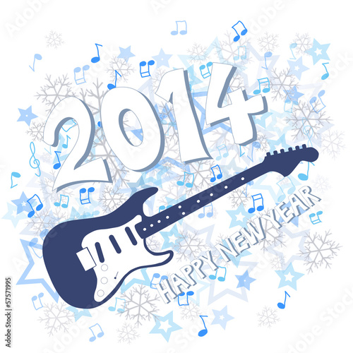 Blue New Year 2014 and guitar illustration