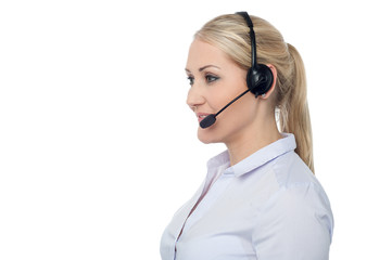 Confident smiling female customer support staff