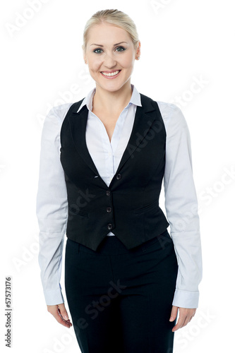 Corporate woman isolated against white