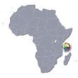 Afrikakarte mit den Komoren