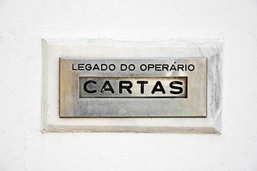 Buzón de correos, cartas, portugués, Portugal