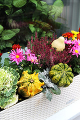 Fall terrace decorations with lot of flowers and other decor veg
