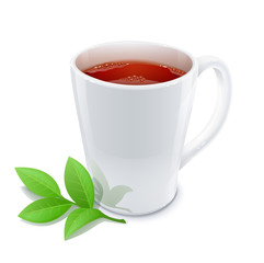 cup of tea with green tea leafs vector illustration isolated
