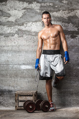 handsome boxer man standing on the wall