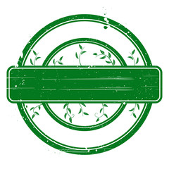Green grunge stamp on white.