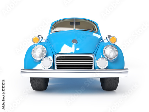 retro blue car