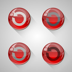 Detailed glossy arrow buttons with long shadow