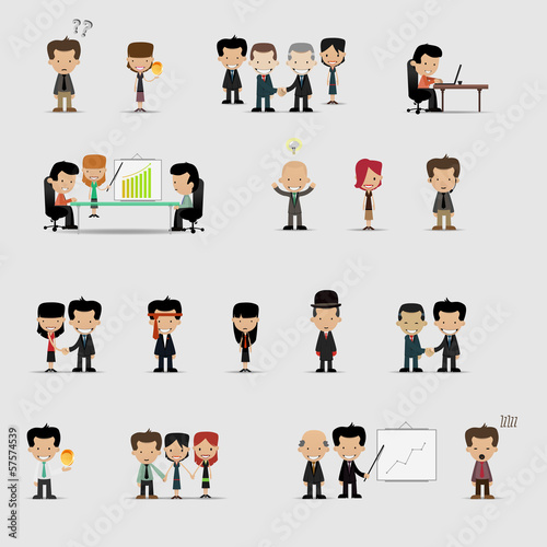 Group cartoon business people