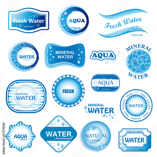Water Labels Set - Isolated On White Background