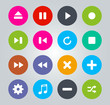 Flat Design - Music player icons