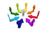 Human teamwork direction concept light bulb link colorful