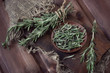 Organic food: fresh rosemary, high angle view