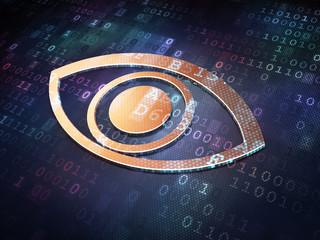 Protection concept: Golden Eye on digital background