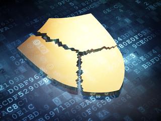 Safety concept: Golden Broken Shield on digital background