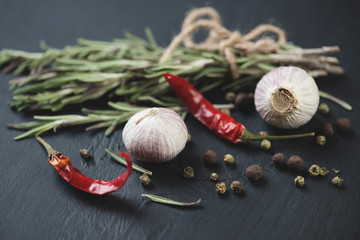 Spices: chinese solo garlic, variety of peppers and rosemary