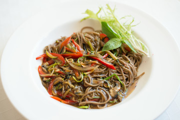 Buckwheat udon noodles with vegetable sauce