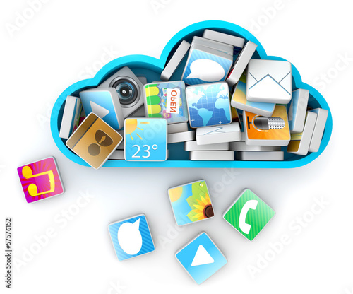 Cloud computing concept - application icons and blue cloud