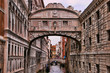 Gondola under the Bridge of Sighs in venice Italy