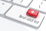 First aid kit on the keyboard