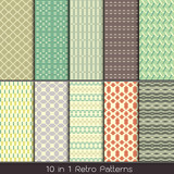 retro fashion patterns collection set