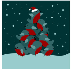 Chistmas card with Bullfinch birds