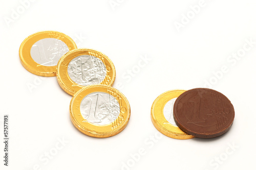 Euro chocolate wrapped in metal foil