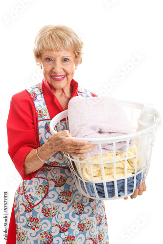 Senior Lady Does the Laundry