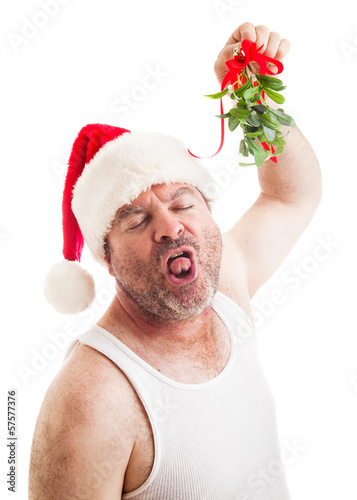 Disgusting Horny Guy with Christmas Mistletoe