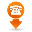 téléphone fixe sur signet orange