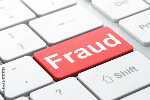 Privacy concept: Fraud on computer keyboard background