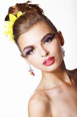Tendency. Futurism. Showy  Fashion Model with Long Eyelashes