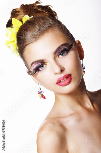 Tendency. Futurism. Showy  Fashion Model with Long Eyelashes