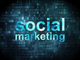 Advertising concept: Social Marketing on digital background