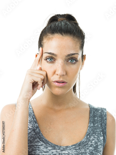 young woman concentrated or thinking isolated in white