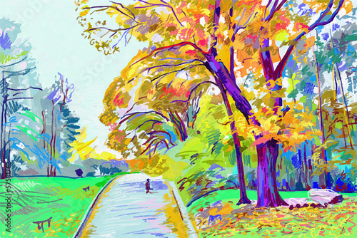 original digital painting of autumn landscape, vector version, a