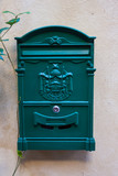 vintage red metal mail box