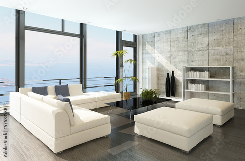 Modern living room with huge windows and concrete wall