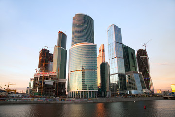 Moscow International Business Center at sunset