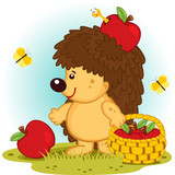 hedgehog with basket of apples - vector illustration.